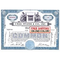 1960 ORIGINAL VINTAGE PFIZER STOCK CERTIFICATE (1950's-60's) FREE SHIPPING of 2ND COLOR! 100 Shares About Unicrculated