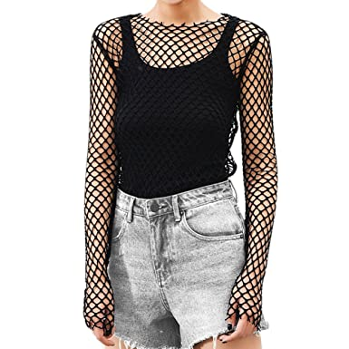 f99c32120c6 EFINNY Women Sheer Mesh Crop Top Fishnet T Shirt Long Sleeve See-Through  Blouse Party Clubwear
