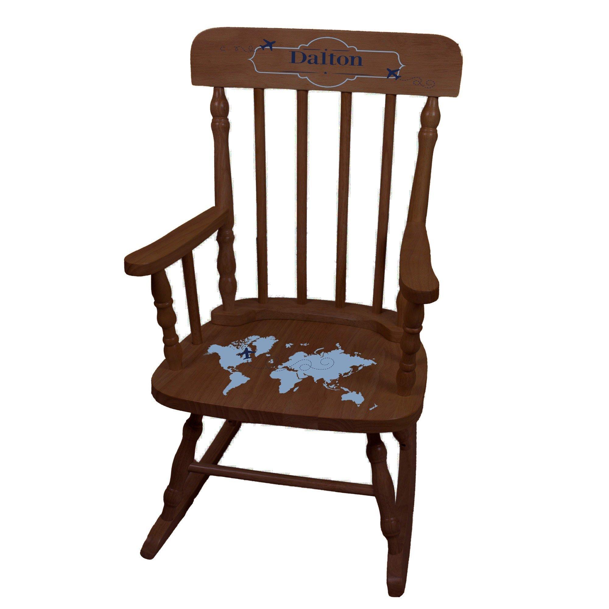 MyBambino Personalized World Map Blue Espresso Childrens Rocking Chair