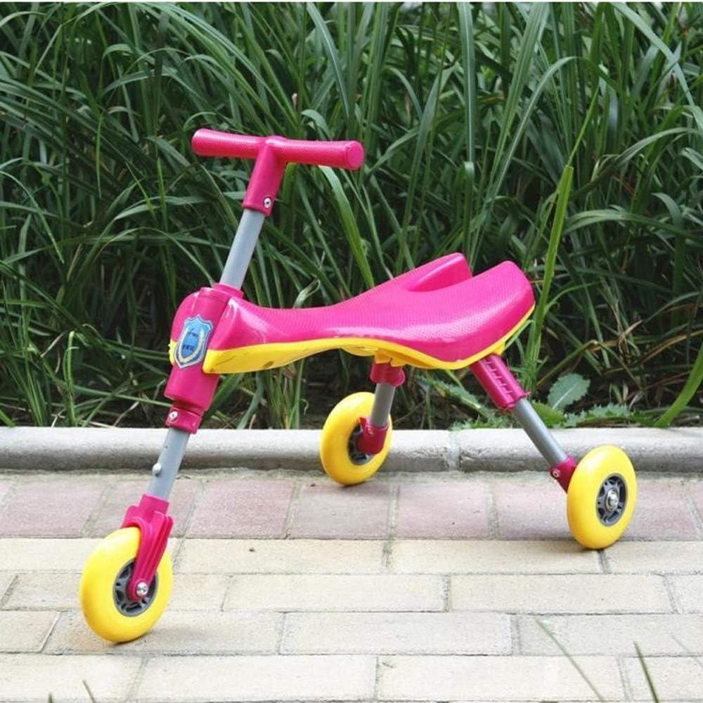 Hkkint 子供のための安全性と環境保護の材料スクーター、三輪設計、折りたたみ式、持ち運びが簡単 ( Color : ピンク )