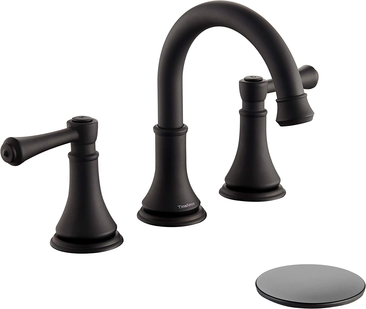 TimeArrow TAF830Y-MB 2 Handle 8 inch Widespread Bathroom Sink Faucet with Pop-Up Drain, Matte Black