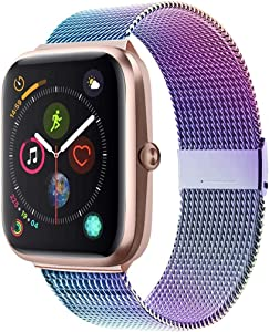 Adooson Compatible with Apple Watch Band 38/40/42/44mm, Stainless Steel Replacement Bands for Watch Series 5/4/3/2/1 (Colorful, 38mm/40mm)