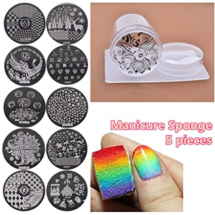 Joligel Estampador Uñas Transparente Silicona Con Raspador 10 Plantillas Estampado 5 Esponjas De Manicura Para Degradado Uñas Kit Estampación
