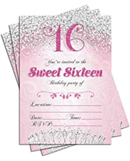 Sweet 16 Sixteen Birthday Party Double Sided Invitations, Set of 25 5x7 Girls 16th Birthday