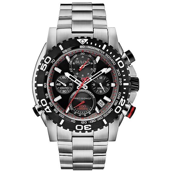 Bulova 98B212 - Reloj de Cuarzo para Hombre, correa de Acero inoxidable color Negro: Amazon.es: Relojes