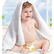 Lucear Baby Towel for Bath Muslin Cotton Blanket for Newborn Shower Gift