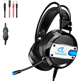Lesozoh A10 Gaming Headset with Microphone,OVibration effect, Professional Wired Gaming Bass Over-Ear Headphones with Mic 3.5mm, Noise Cancelling & Volume Control for PC PS4 Xbox One Laptop and Mac
