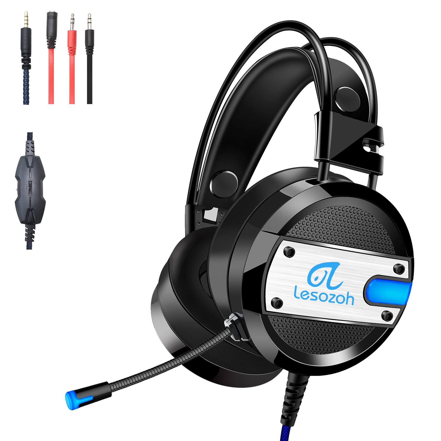 Lesozoh A10 Gaming Headset with Microphone,Professional Wired Gaming Bass Over-Ear Headphones with Mic 3.5mm, Noise Cancelling & Volume Control for Cell Phone PC PS4 Xbox One Laptop and Mac