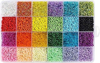 Semillas de Cuentas de Semillas de 15 Colores Ofrecen Aguja y Rollo de Hilos El/ásticos para Hacer Joyas Arte de Pulsera DIY POKIENE Mini Cuentas de Vidrio de 3 Mm