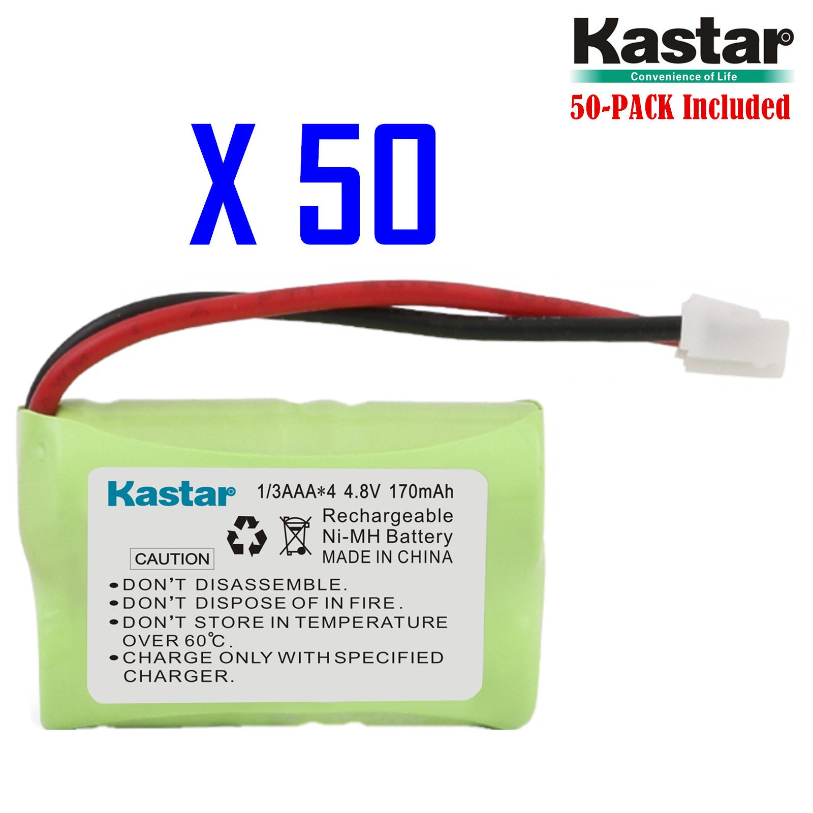 Kastar 50-PACK 4.8V 170mAh Ni-MH Rechargeable Battery for PetSafe Yard & Park Remote Dog Trainer, PDT00-12470 RFA-417 PAC00-12159 FR-200P Collar Receiver plus Coaster, SportDog FR200, SD-400, SD-800