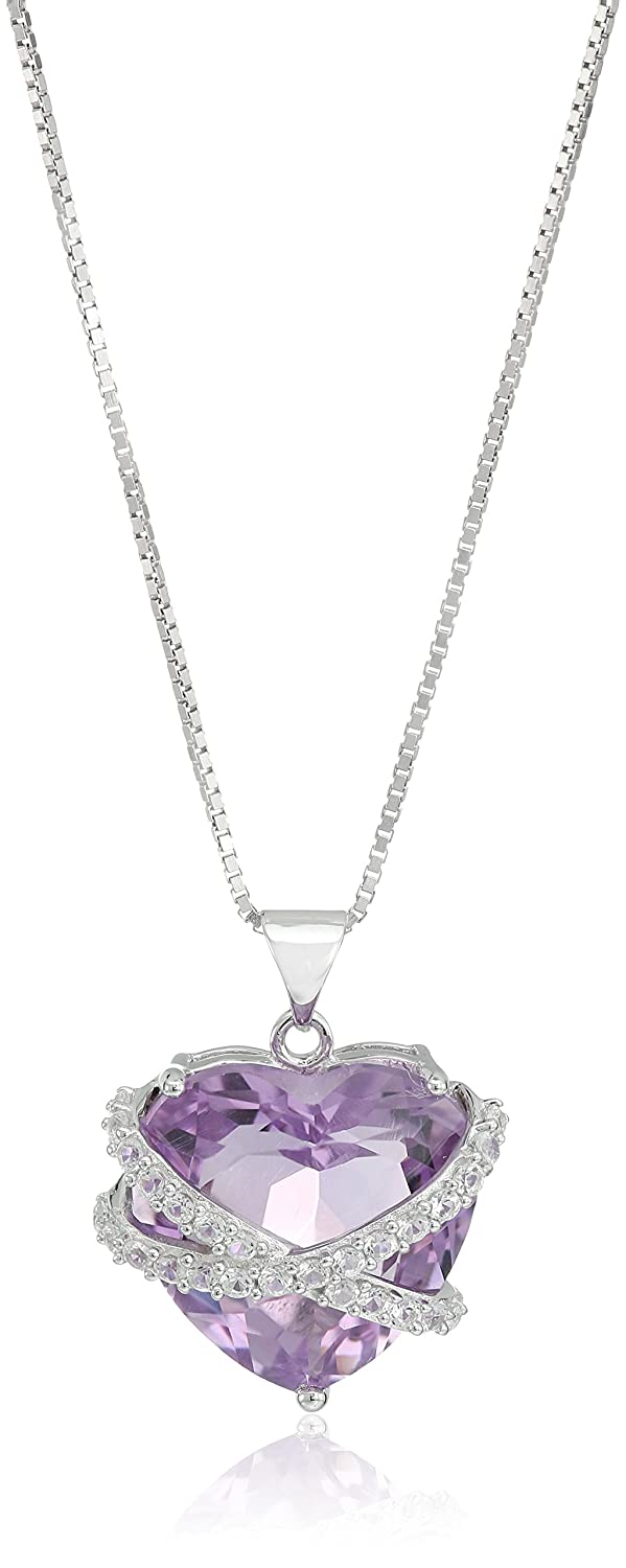 Sterling Silver Amethyst and Created White Sapphire Heart Pendant Necklace, 18