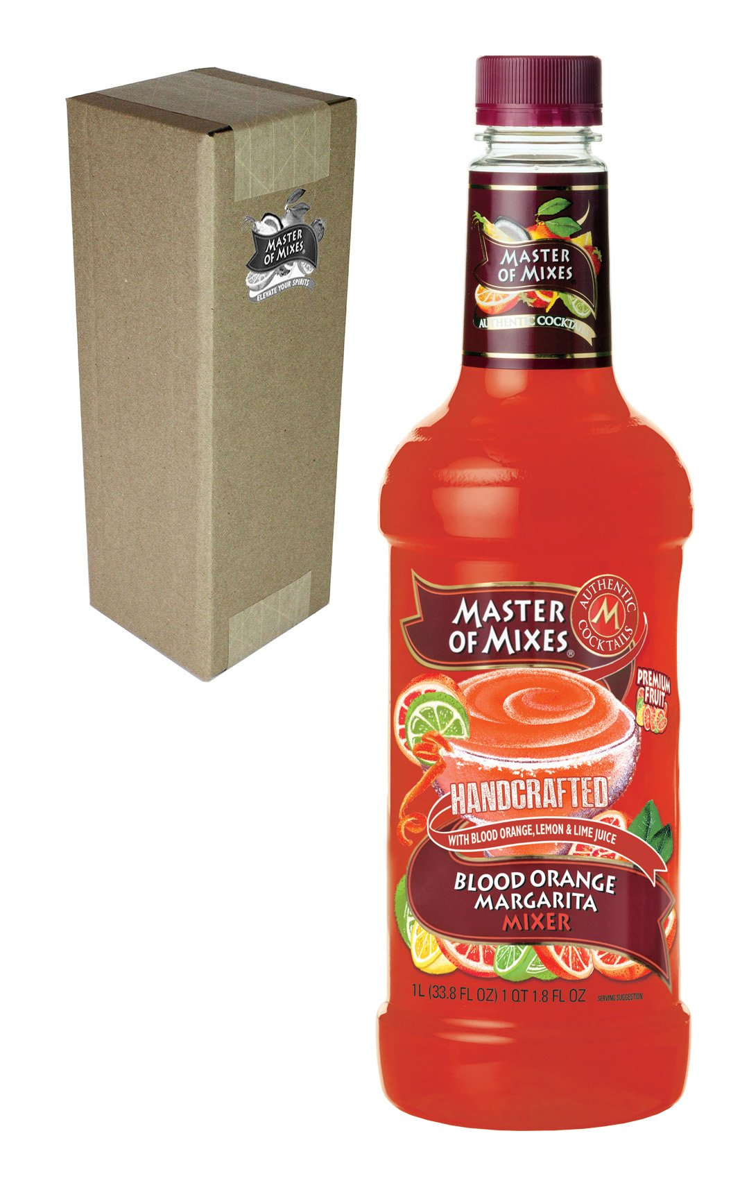 Master of Mixes Blood Orange Margarita Drink Mix, Ready To Use, 1 Liter Bottle (33.8 Fl Oz), Individually Boxed by Master of Mixes