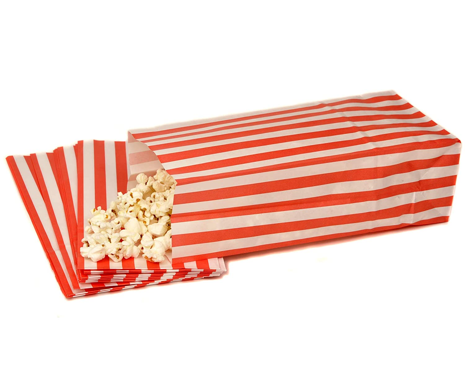 Bag It Plastics Red & White Pick and Mix Candy Stripe Paper Sweet / Popcorn Bags Recyclable and Biodegradable 4' x 9.5' x 3' / 110mm x 240mm x 75mm (Pack of 25)