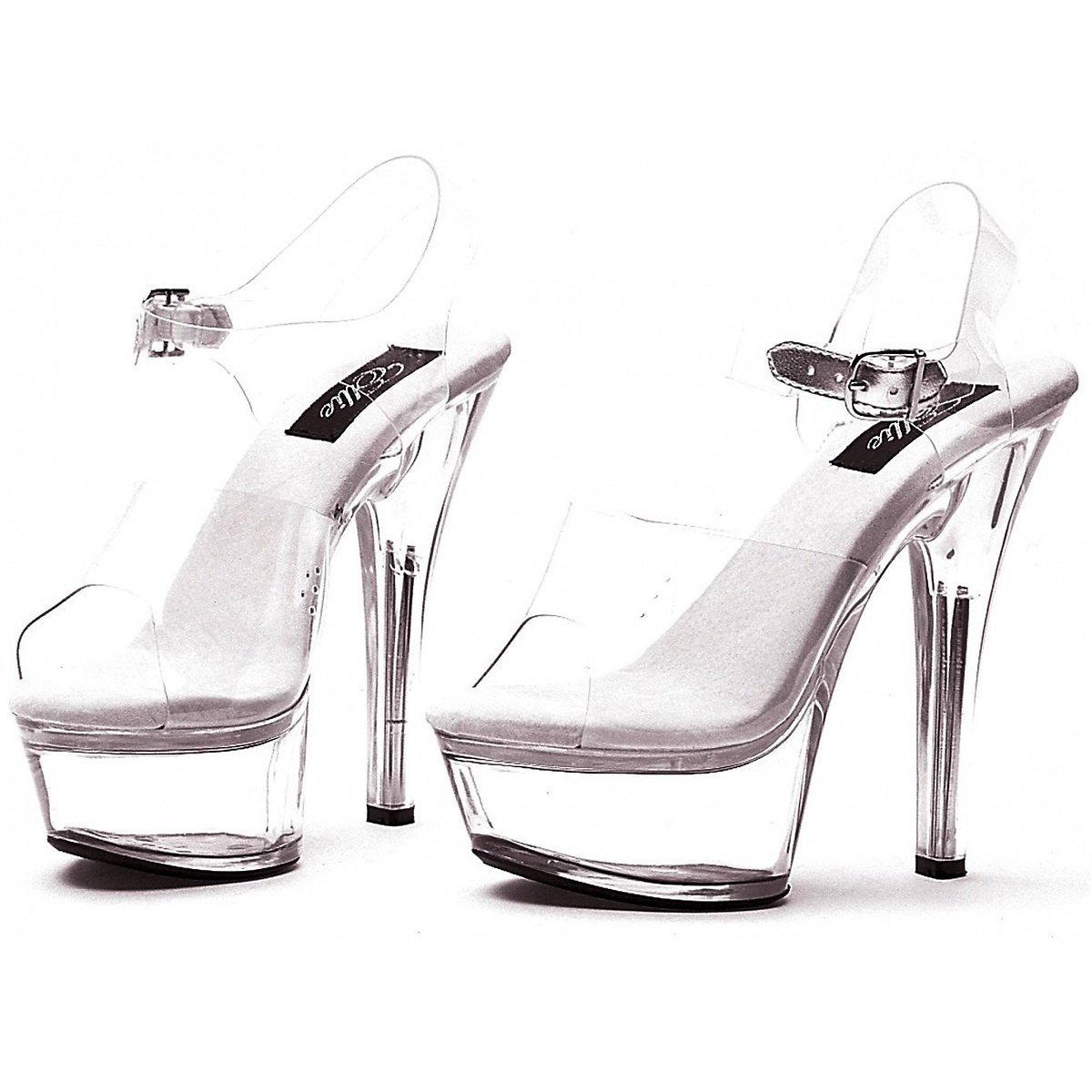 Ellie Shoes Women's 6 Inch Heel Sandal (Clear;7)