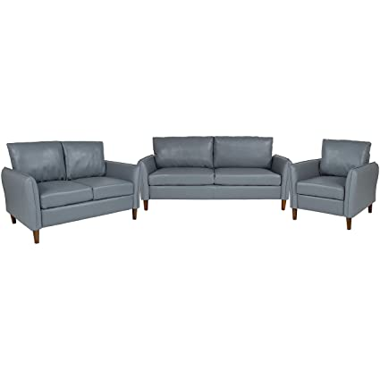 Cool Flash Furniture Milton Park Upholstered Plush Pillow Back Chair Loveseat And Sofa Set In Gray Leather Uwap Interior Chair Design Uwaporg