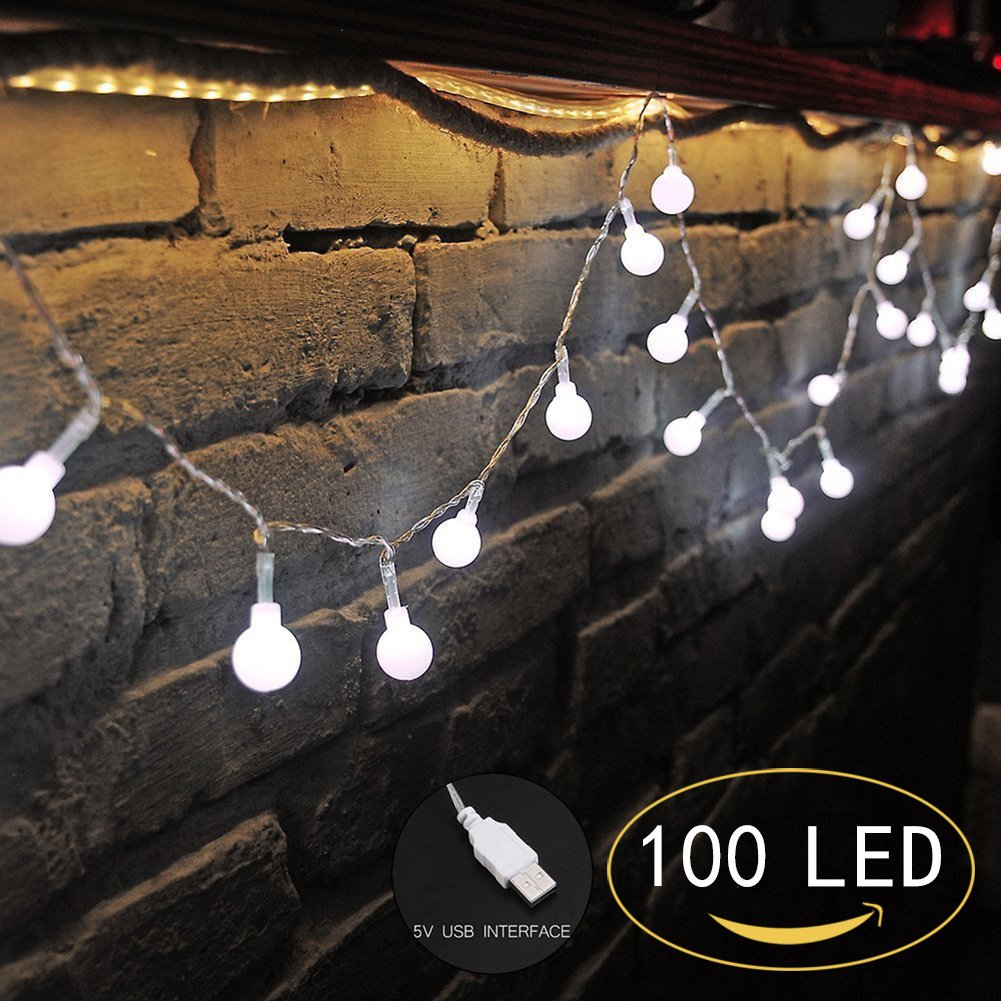 100 LED Globe String Lights, Ball Christmas Lights, Indoor / Outdoor Decorative Light, USB Powered, 39 Ft, Cool White Light - for Patio Garden Party Xmas Tree Wedding Decoration