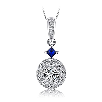 JewelryPalace Flower 0.3ct Created Sapphire Pendant Necklace 925 Sterling Silver 18 Inches WTg9vRG7