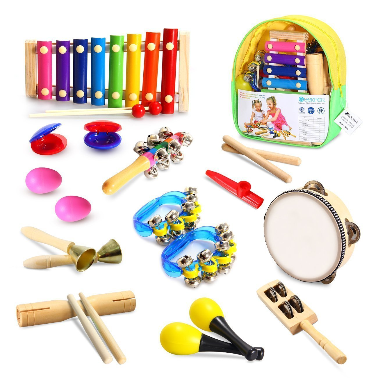 Geekper Kids Musical Instruments, 18 PCS Wooden Percussion Instruments Toy for Baby Kid Child Boys Girls, Tambourine Set Toddler Musical Toys Storage Backpack Included