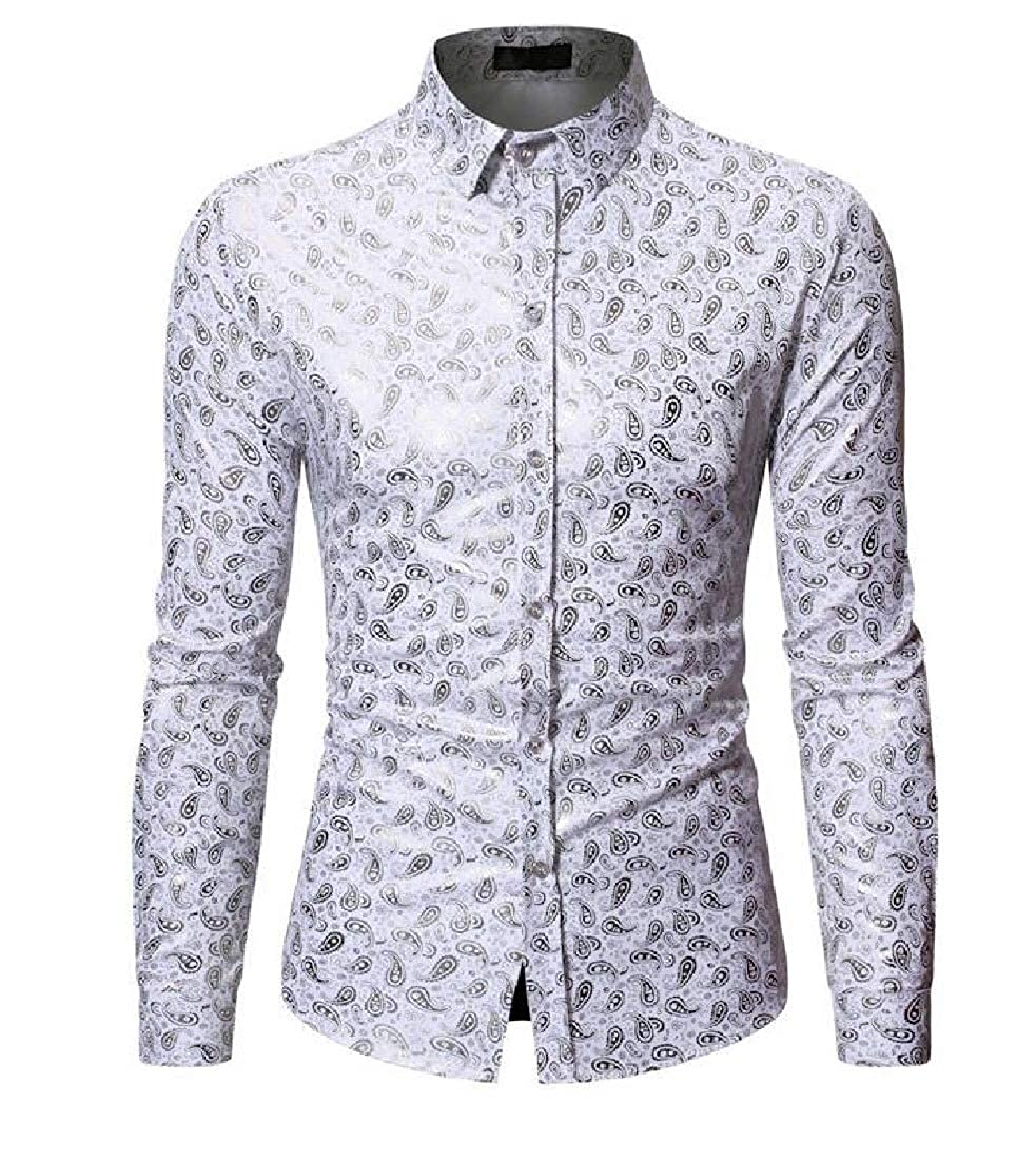 Comaba Mens Single Breasted Original Fit Plus Size Floral Woven Shirt