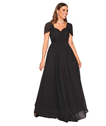 4815-BLK-08: Cross Pleats Maxi Prom Dress