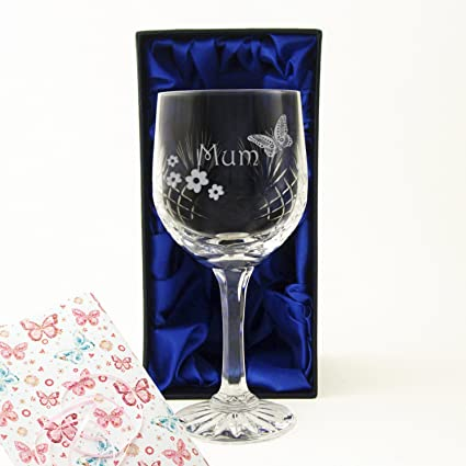Gorgeous Butterfly Design Wine Glass Gift New Boxed