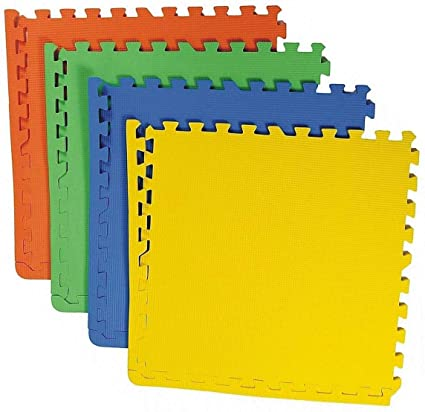 Lakshya India Big Size Eva Foam Mat Measuring 16 Square Feet 4 Piece of Interlocking Mat Tiles and One Tile Measures 2x2 in Feet
