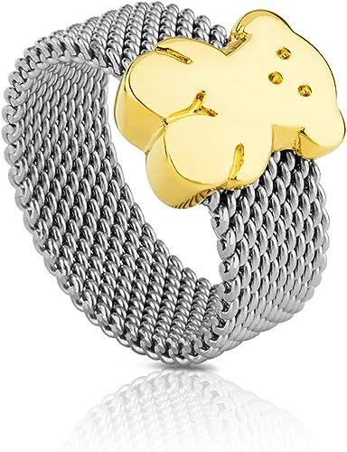 Anillo TOUS Mesh en acero inoxidable con oso en oro amarillo de 18kt