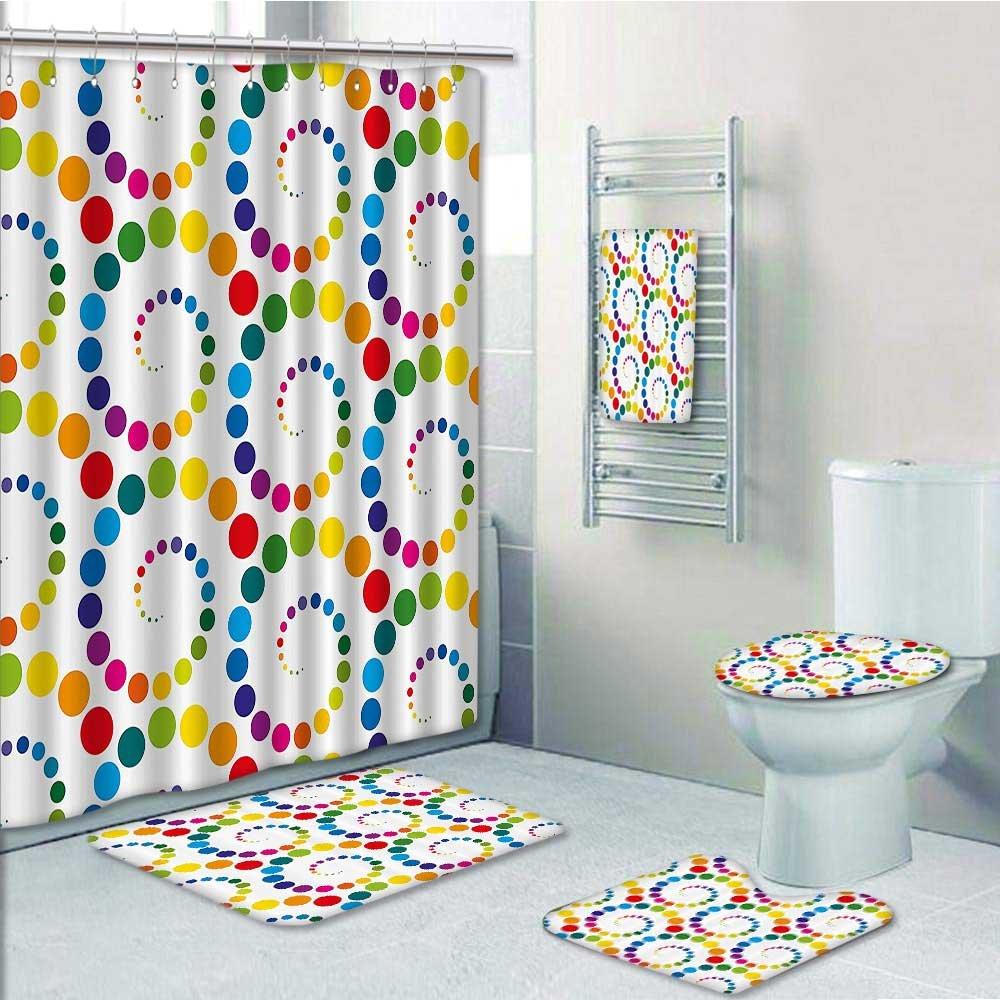 5 Piece Bathroom Rug Set/3 Piece Bath Rugs with Fabric Shower ...