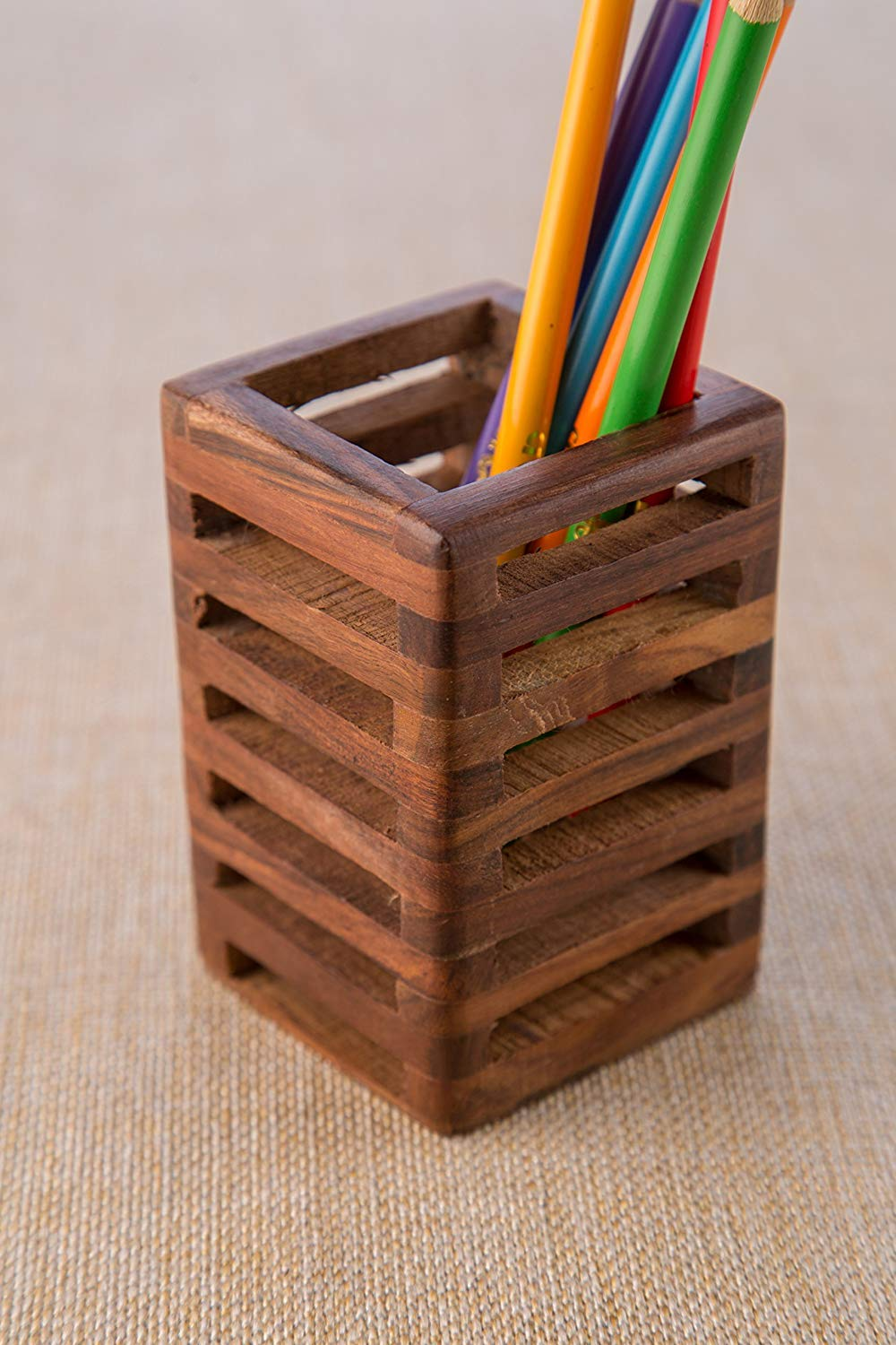 Office Table School Supplies S.B.ARTS Indian Wood Decorative Mesh Design Wooden Pen Home Gift for Birthday 2.75 x 2.75 x 4.25 in Pencil Holder//Handmade Traditional Storage Organizer for Desk