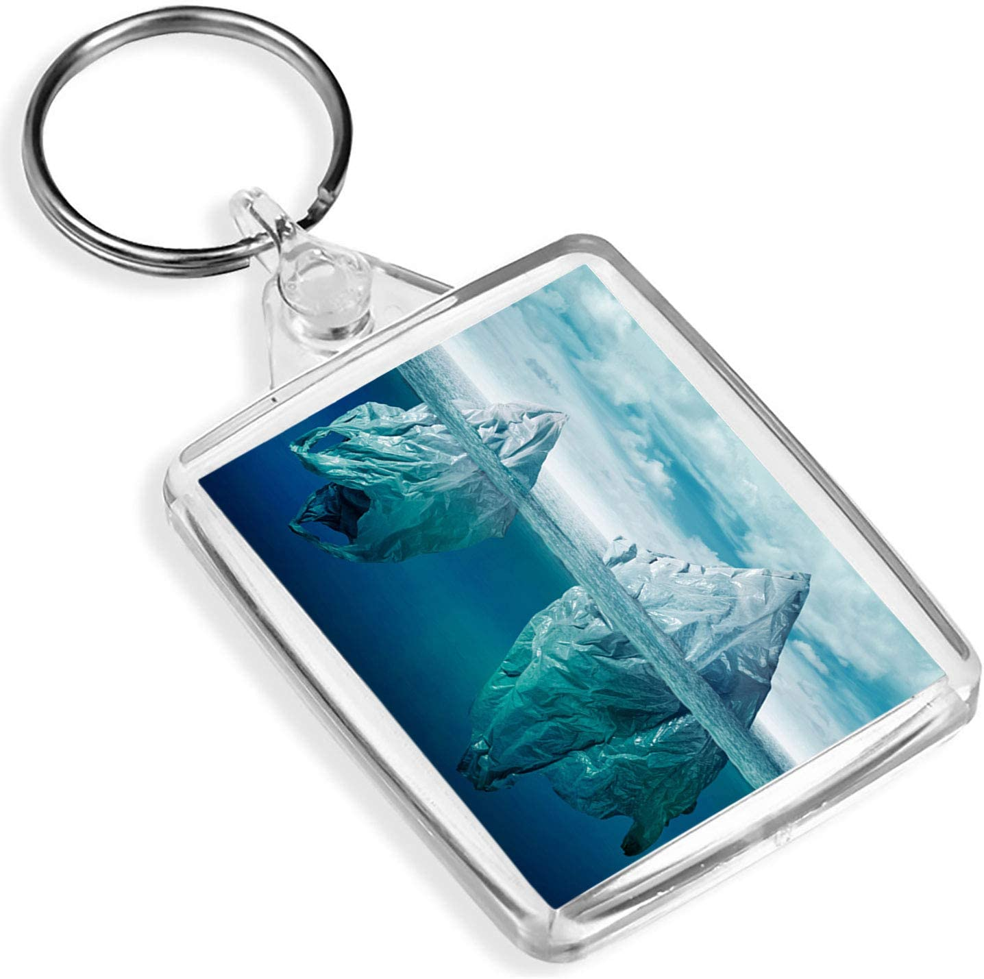 Destination Vinyl Keyrings 1 x Bolsa de plástico Iceberg Pollution Sea Save – Llavero – IP02 – Regalo para mamá papá niños # 3572