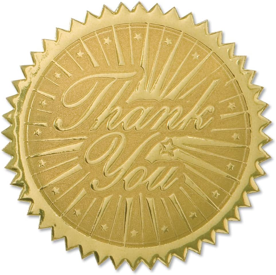 PaperDirect Thank You Embossed Gold Certificate Seals, 102 Pack