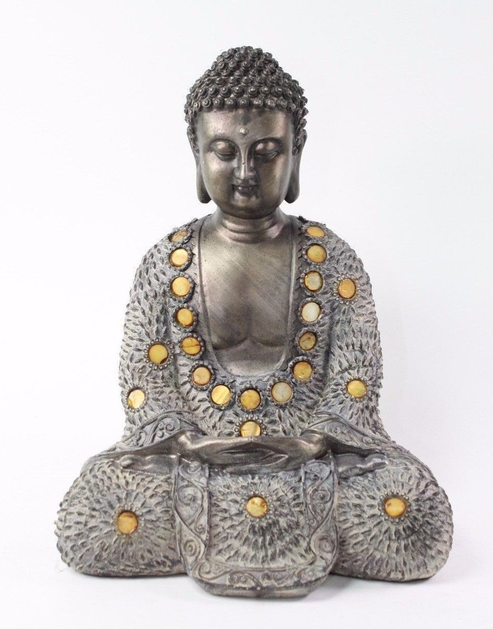 Feng Shui 10 Grey and Bronze Buddha Dhyani Mudra Home Decor Peace Statue