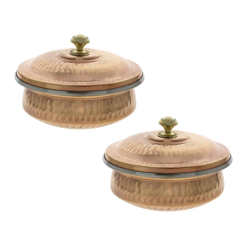 PARIJAT HANDICRAFT Dinnerware Indian Set of 2 Serving Bowl Copper Tureen with Lid 700 Ml