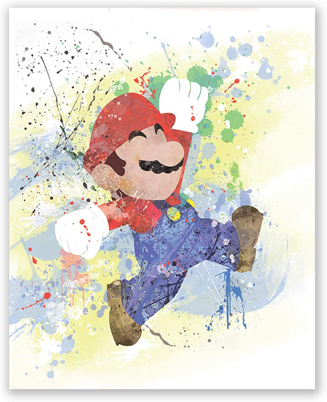 Mario Brothers Poster- Inspired Watercolor Art Print Wall Print - Nursery Decoration (8x10)