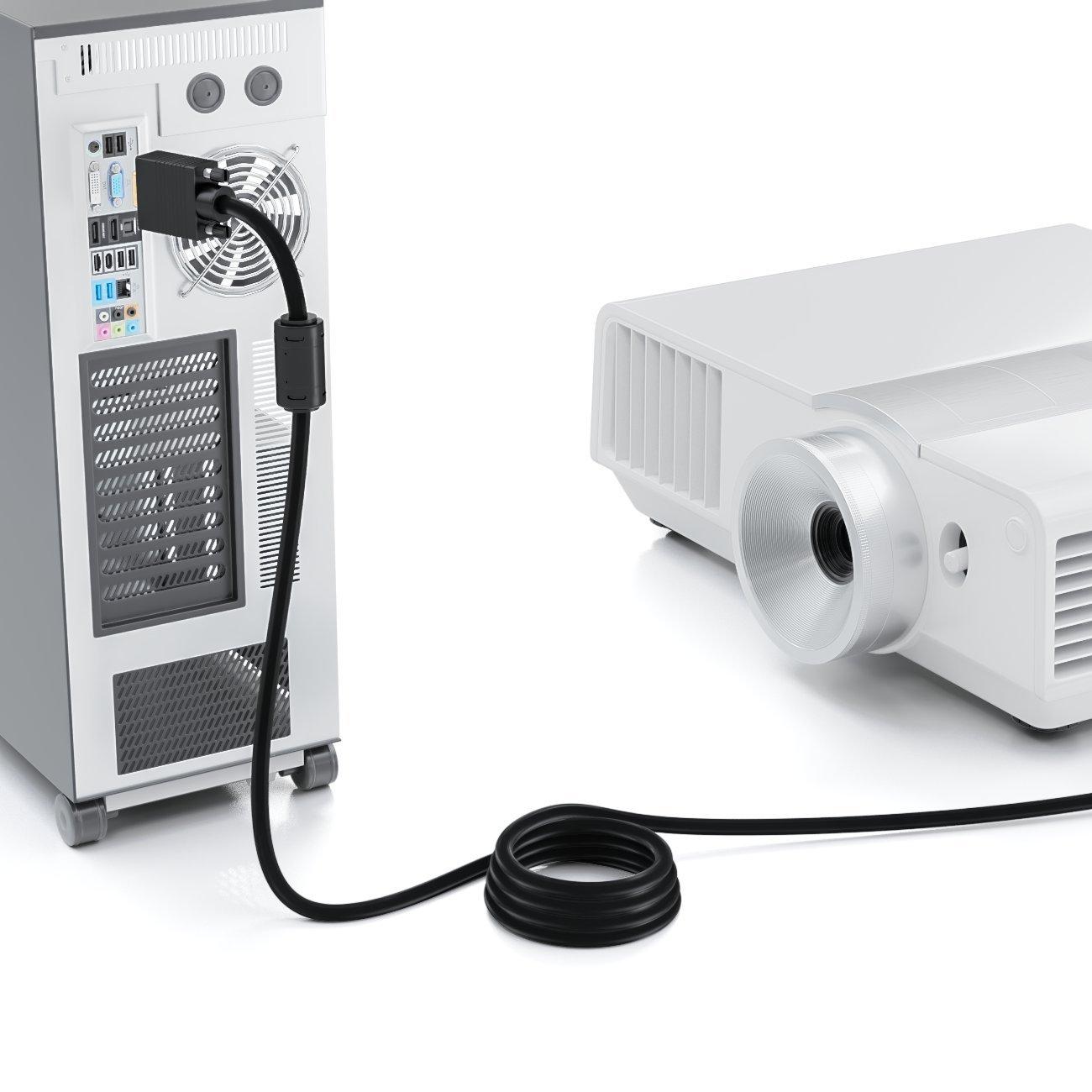 Cable de Monitor S-VGA Conector D-Sub 1080p Full HD Protegido Protector 2 Filtro de Ferrita Contactos Chapados en Oro deleyCON 7,5m Cable VGA 15pin