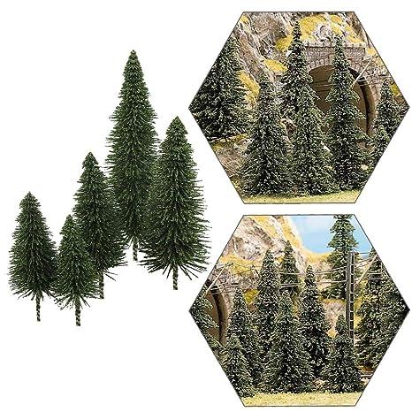 S0804 40pcs Dark Green Pine Model Cedar Trees 2 05-4 96 inch (52-126 mm)  for Model Railroad Scenery Landscape Layout HO OO Scale New