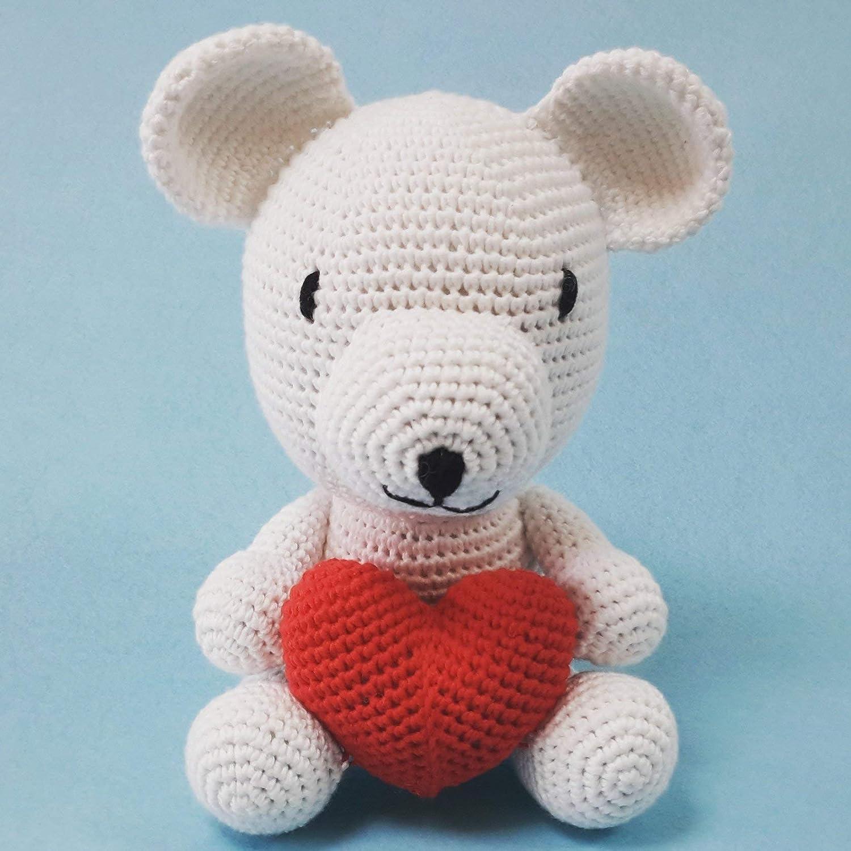 Osito amigurumi con corazón. Osito de crochet realizado ...
