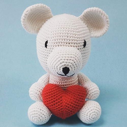 Osito amigurumi con corazón. Osito de crochet realizado artesanalmente con hilo de algodón 100%.: Amazon.es: Handmade