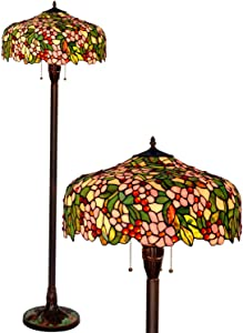 HT Tiffany Styled Mission Floor Lamp, 20 inch Wide 3-Light Double Lit Apple Flower Stained Glass Shade Antique Base, Decor for Dining Room Living Room Bedroom Reading