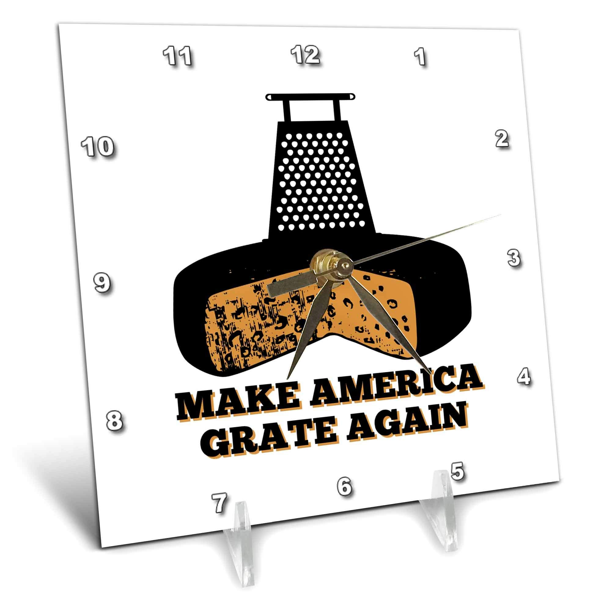 3dRose Russ Billington Designs - Funny Cheese Grater and Cheese with Text- Make America Grate Again - 6x6 Desk Clock (dc_293777_1)