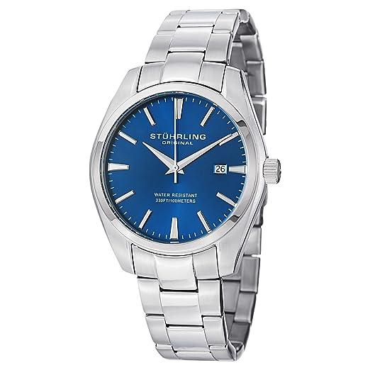 Stuhrling 414.33116AM - Reloj para Hombres, Correa de Acero Inoxidable Color Plateado: Amazon.es: Relojes