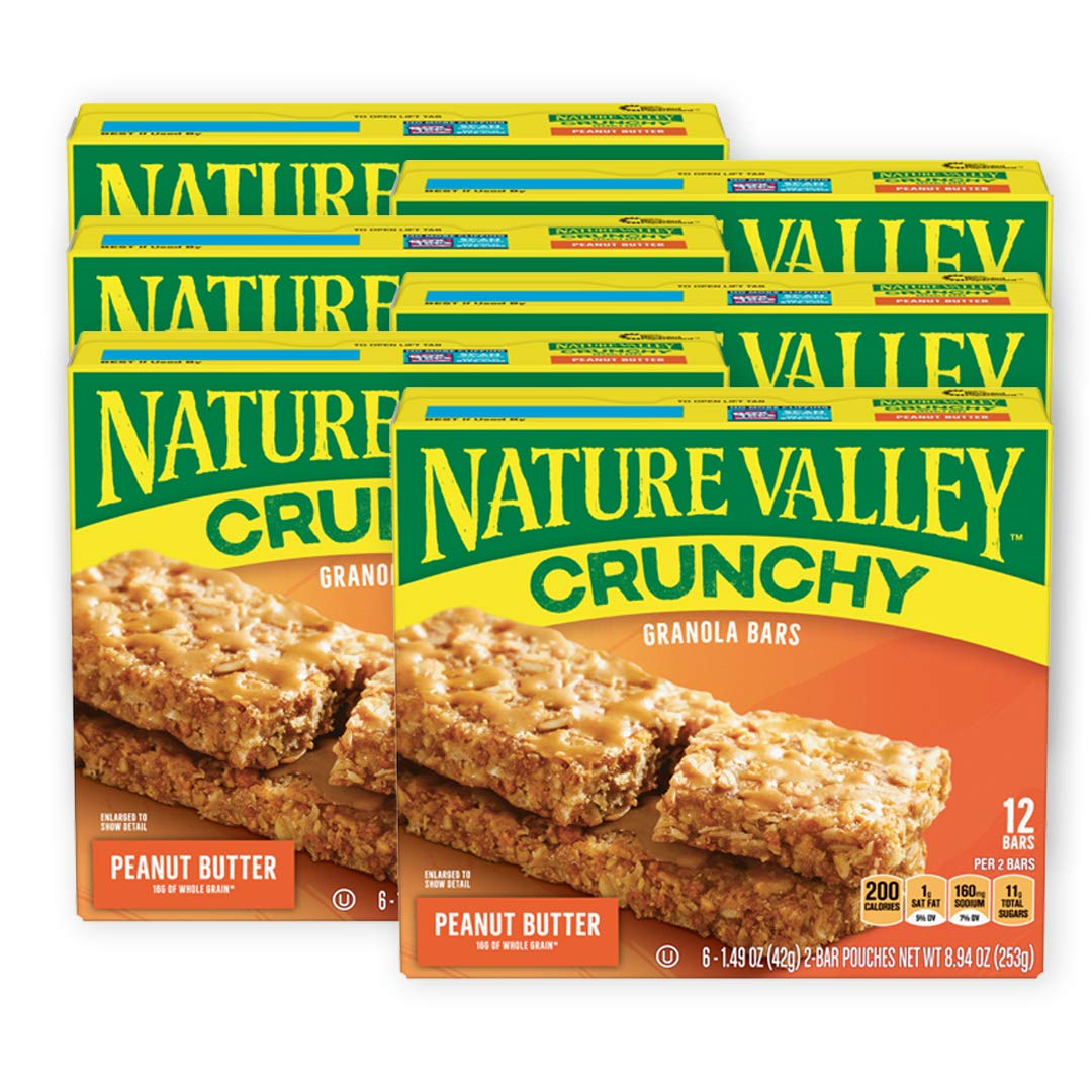 Nature Valley Granola Bars, Crunchy, Peanut Butter, 6 Pouches - 1.49 oz, 2-Bars Per Pouch (Pack of 6)