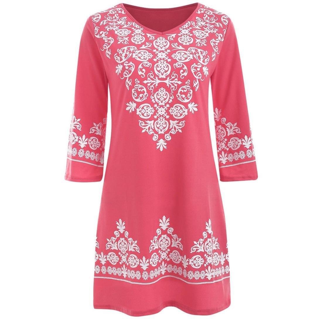 Gocheaper Women Casual Mini Dress Half Sleeve Ethnic Print V Neck Shirt (S, Pink)