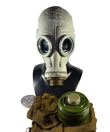 Size - 3 (Large) Soviet Russian Military Gas mask GP-5. Grey