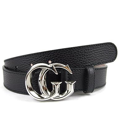 Gucci Hombre Piel de color negro plata GG hebilla cinturón ...