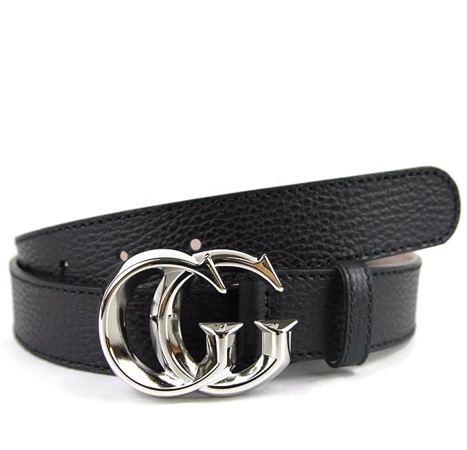 Gucci Hombre Piel de color negro plata GG hebilla cinturón 362734 1000   Amazon.es  Ropa y accesorios 5827a928e06