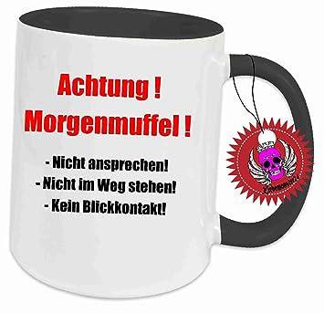 Tasse Schwarz Voll Mit Aufdruck Spruch Achtung Morgenmuffel