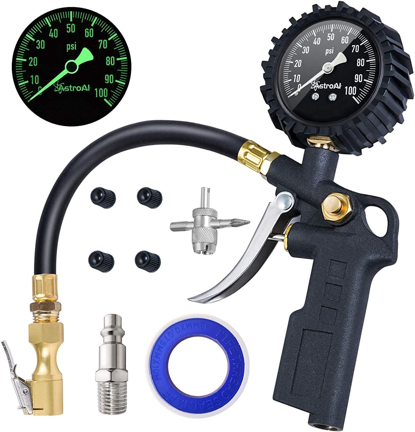 """AstroAI Tire Inflator with Pressure Gauge, 100 PSI Air Chuck and Compressor Accessories Heavy Duty with Large 2.5"""" Easy Read Glow Dial, Durable Rubber Hose and Quick Connect Coupler: Automotive"""