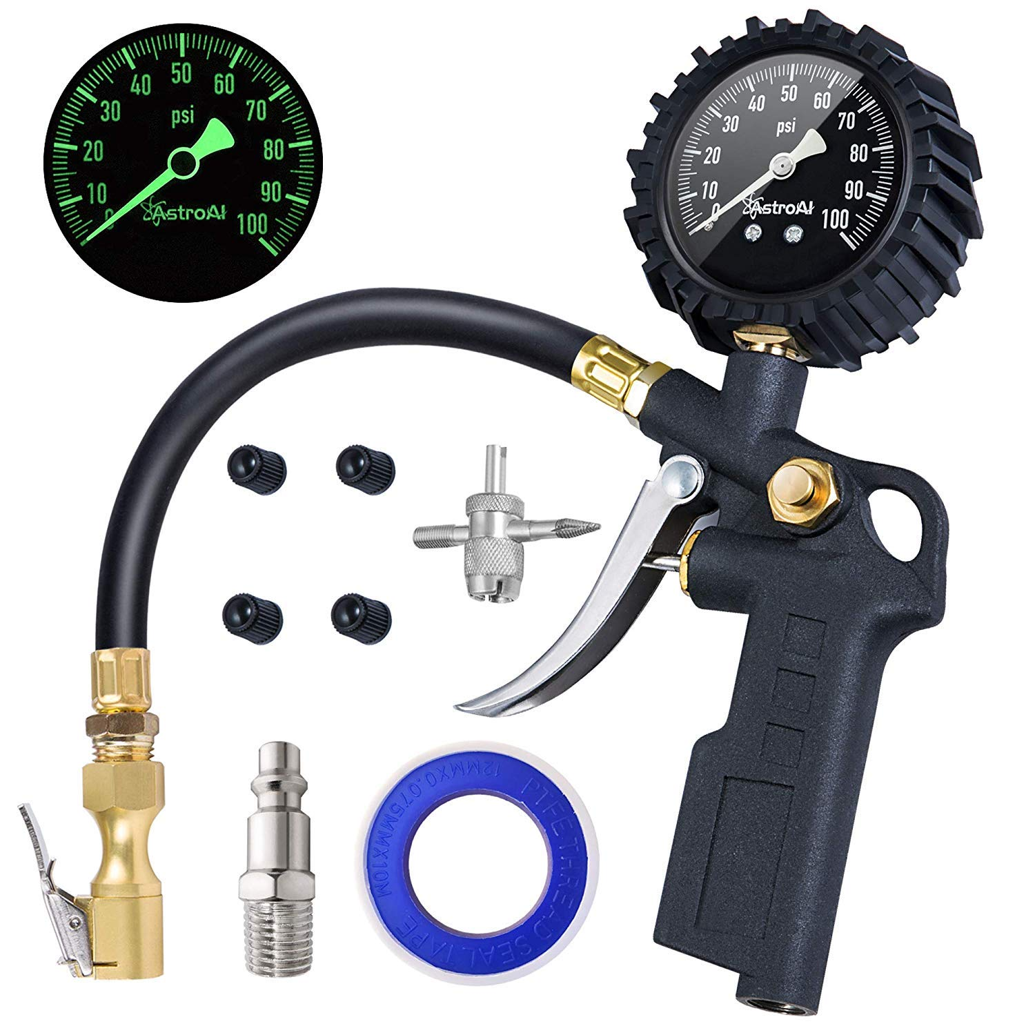 AstroAI Tire Inflator with Pressure Gauge, 100 PSI Air Chuck and Compressor Accessories Heavy Duty with Large 2.5'' Easy Read Glow Dial, Durable Rubber Hose and Quick Connect Coupler