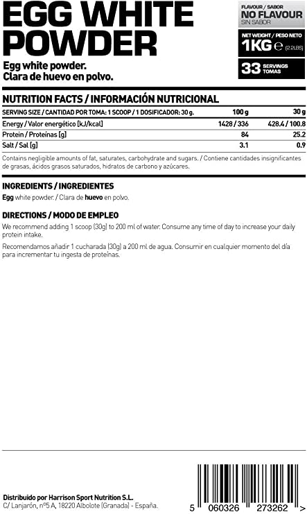 HSN RAW Clara de Huevo en Polvo 100% Proteína Natural sin Grasas, sin Colesterol y sin Sabor - 1000 gr